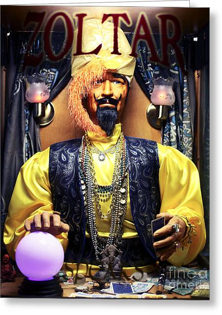 Amusements Greeting Cards - Zoltar Greeting Card by John Rizzuto