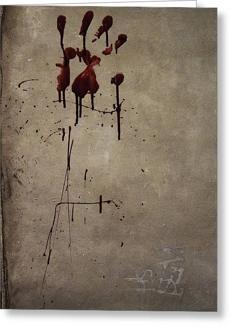 Zombies Greeting Cards - Zombie Attack - Bloodprint Greeting Card by Nicklas Gustafsson