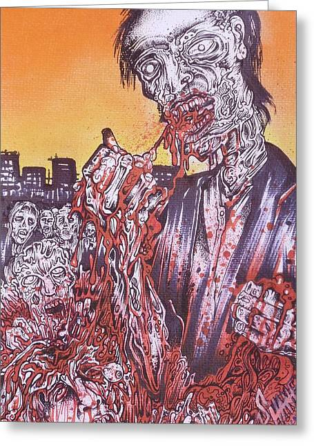 Samhane Greeting Cards - Zombie Blood Sunset Greeting Card by Sam Hane