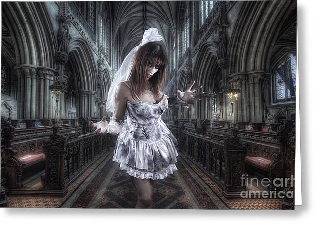 Gothic Dark Church Greeting Cards - Zombie Bride Greeting Card by Yhun Suarez