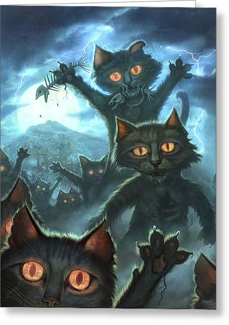Evil Digital Greeting Cards - Zombie Cats Greeting Card by Jeff Haynie