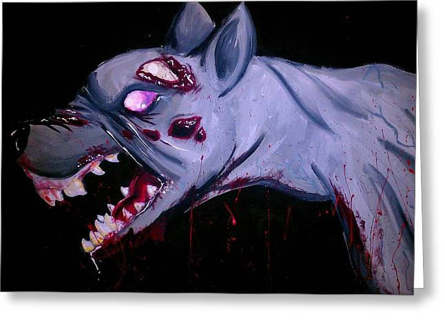 Hounds Tooth Greeting Cards - Zombie Dog Greeting Card by Marisela Mungia