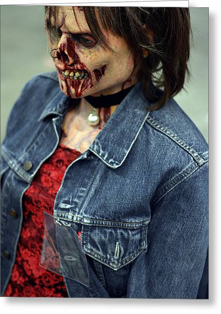 Horrible Greeting Cards - Carmen zombie face Greeting Card by Toppart Sweden