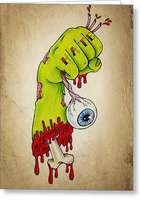 Eyeball Greeting Cards - Zombie Hatred Greeting Card by Samuel Whitton