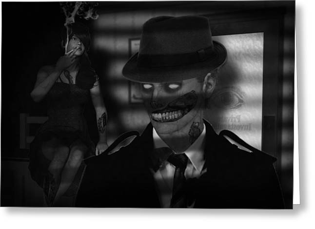 Film Noir Mixed Media Greeting Cards - Zombie Noir Greeting Card by Dirt Road Cowboy Dean Mastern
