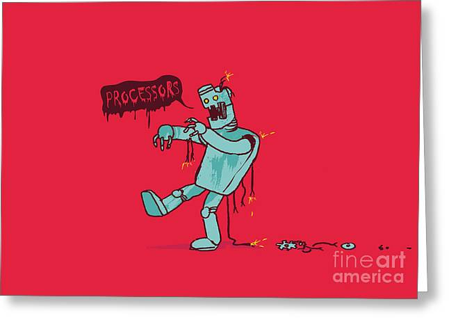 Machine Greeting Cards - Zombie Robot Greeting Card by Budi Satria Kwan