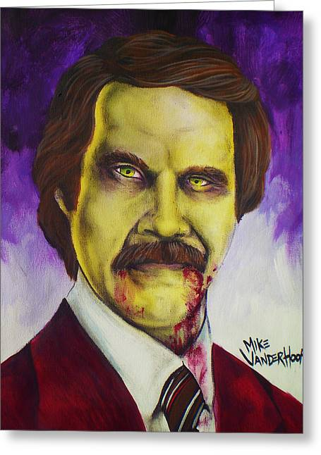 Anchorman Greeting Cards - Zombie Ron Burgundy Greeting Card by Mike Vanderhoof