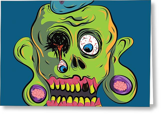 Cowboy Sketches Greeting Cards - Zombie Skull Greeting Card by Jera Sky