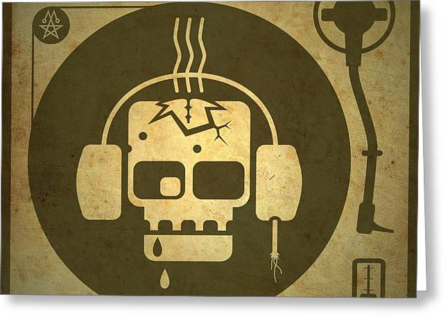Olive Drab Greeting Cards - Zombie Turntable Greeting Card by Milton Thompson
