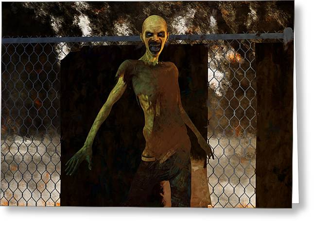 Ghastly Greeting Cards - Zombie - Undead Horror Greeting Card by Liam Liberty