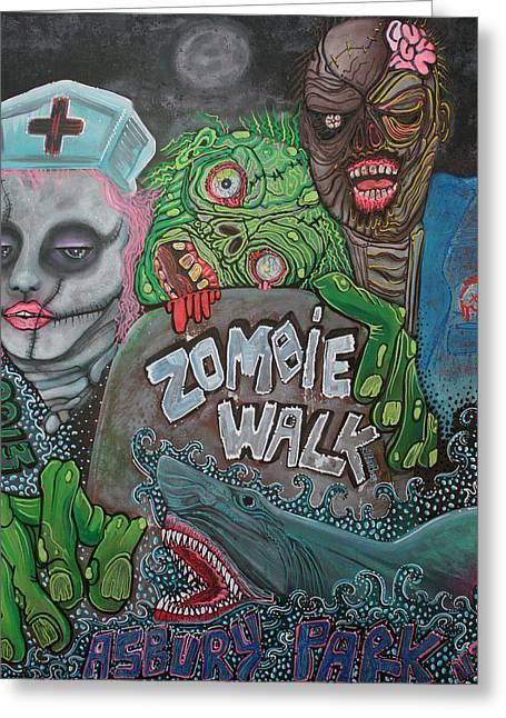 Asbury Park Paintings Greeting Cards - Zombie Walk Greeting Card by Laura Barbosa