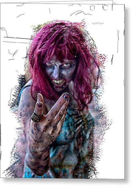 Zombie Want You Greeting Card by John Haldane