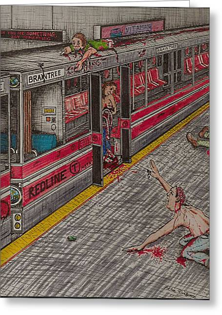 Richie Montgomery Greeting Cards - Zombies on the Red Line Greeting Card by Richie Montgomery