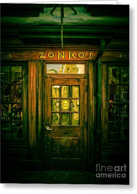 Harry Potter Greeting Cards - Zonkos Joke Shop Hogsmeade 2 Greeting Card by Edward Fielding