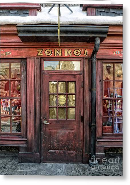 Harry Potter Greeting Cards - Zonkos Joke Shop Hogsmeade Greeting Card by Edward Fielding