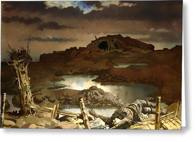 Craters Paintings Greeting Cards - Zonnebeke Greeting Card by William Orpen