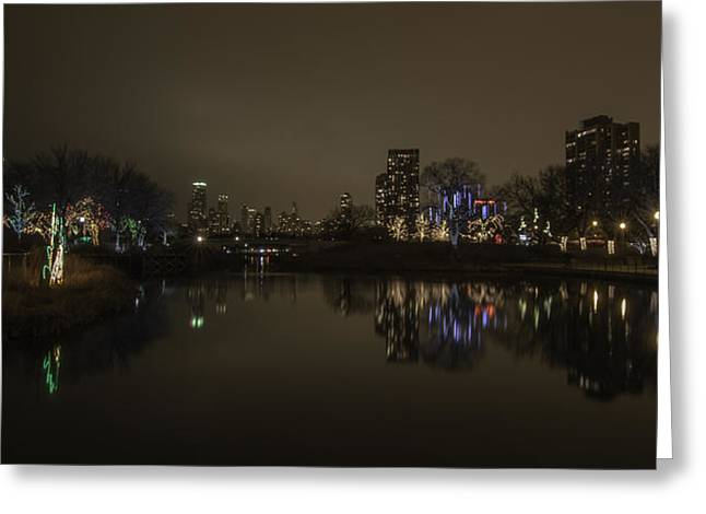 Lincoln Park Lagoon Greeting Cards - Zoo Lights - Lincoln Park Lagoon Greeting Card by Greg Thiemeyer