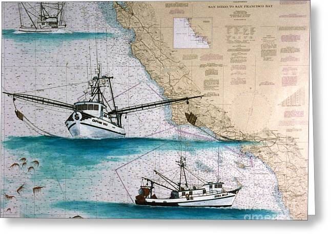 Shrimp Boat Captains Greeting Cards - Zorabelle and Capt Wes Fish Boat Nautical Chart Art Greeting Card by Cathy Peek