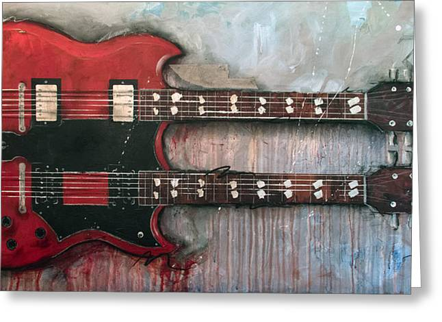 Guitar Player Mixed Media Greeting Cards - Zoso Greeting Card by Sean Parnell