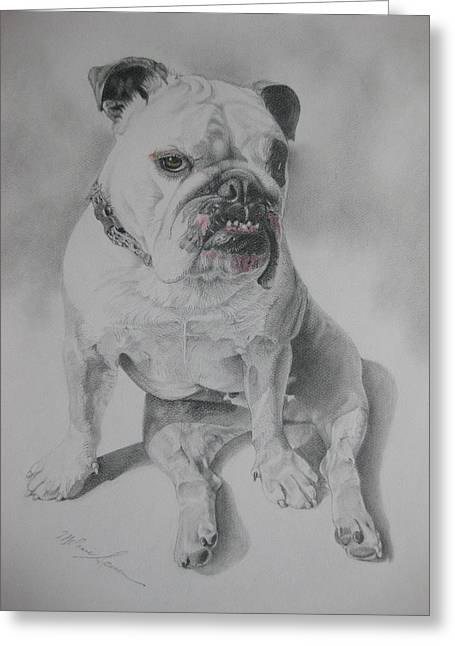 Collar Drawings Greeting Cards - Zsu Zsi Greeting Card by Melanie Spencer