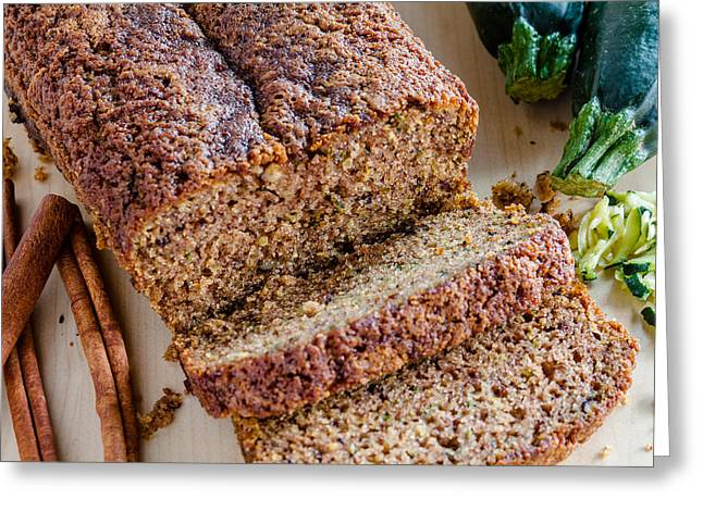 Moist Greeting Cards - Zucchini and Cinnamon Bread Greeting Card by Teri Virbickis