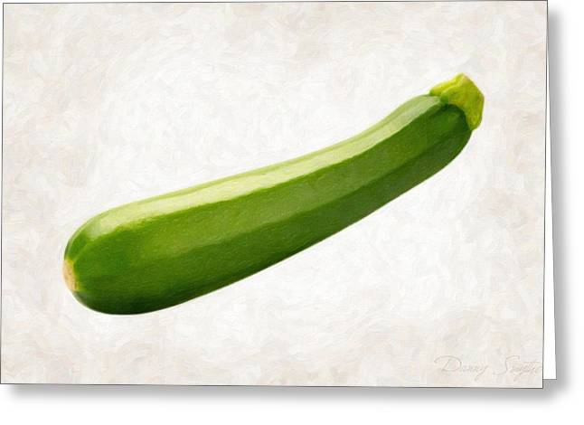Single Object Paintings Greeting Cards - Zucchini  Greeting Card by Danny Smythe