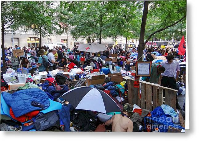 Occupy Greeting Cards - Zuccotti Park Greeting Card by Ed Weidman