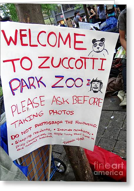 Occupy Greeting Cards - Zuccotti Park Zoo Greeting Card by Ed Weidman