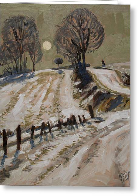 Limburg Paintings Greeting Cards - Zuid Limburg first snow and full moon Greeting Card by Nop Briex