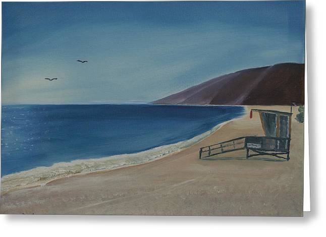 Seabirds Greeting Cards - Zuma Lifeguard Tower Greeting Card by Ian Donley