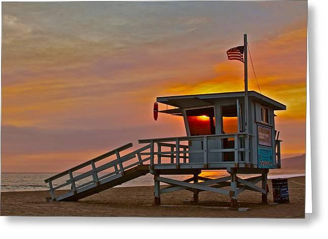 Ocean Vista Greeting Cards - Zuma Sunset Greeting Card by Maureen J Haldeman