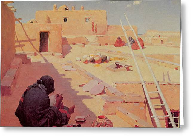 Master Potter Greeting Cards - Zuni Pottery Maker Greeting Card by William Robinson Leigh