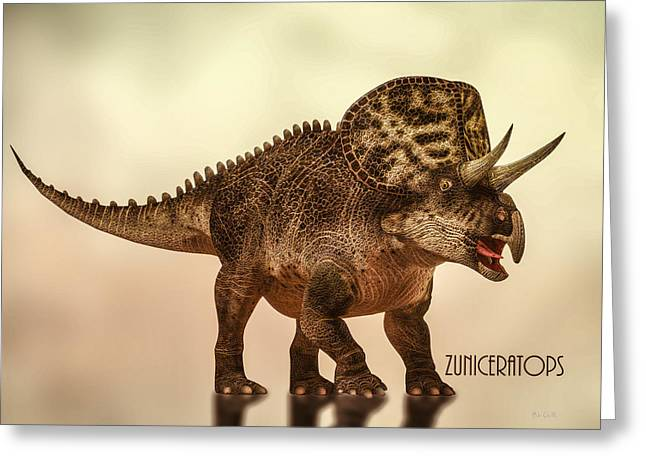 Prehistoric Digital Greeting Cards - Zuniceratops Dinosaur Greeting Card by Bob Orsillo