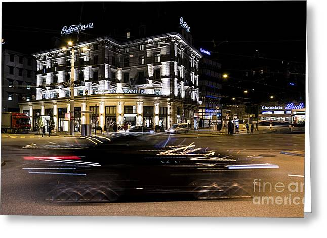 Zurich Greeting Cards - Zurich at Night Greeting Card by Ning Mosberger-Tang