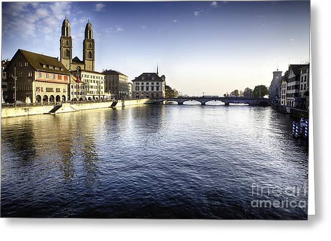 Zurich Limmat River Scenic Greeting Card by George Oze