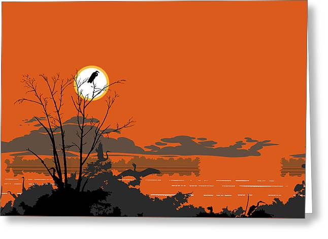 1980s Greeting Cards - Abstract Florida Everglades Tropical Birds Sunset Landscape - large Pop Art Nouveau - Panorama - 3 Greeting Card by Walt Curlee