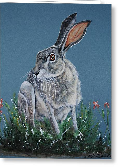 Zydeco Greeting Cards - Zydeco Joe Jackrabbit Greeting Card by DiDi Higginbotham