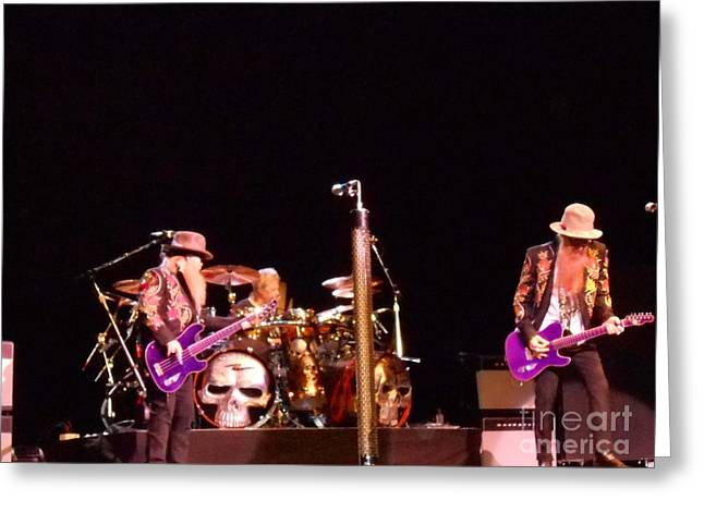 Playing Musical Instruments Greeting Cards - ZZ Top in Concert Greeting Card by John Telfer
