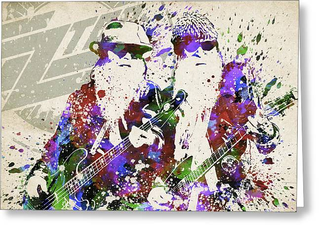 Bathroom Art Greeting Cards - ZZ Top Portrait Greeting Card by Aged Pixel