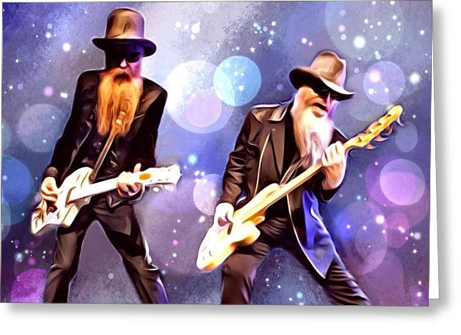 Digital Designs Greeting Cards - ZZ Top Portrait Greeting Card by Scott Wallace