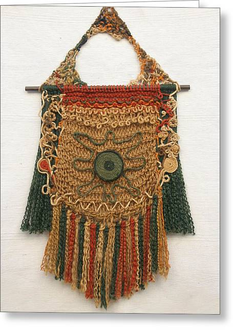 Weave Tapestries - Textiles Greeting Cards -        Accurate  Eye Greeting Card by Diana Corcan