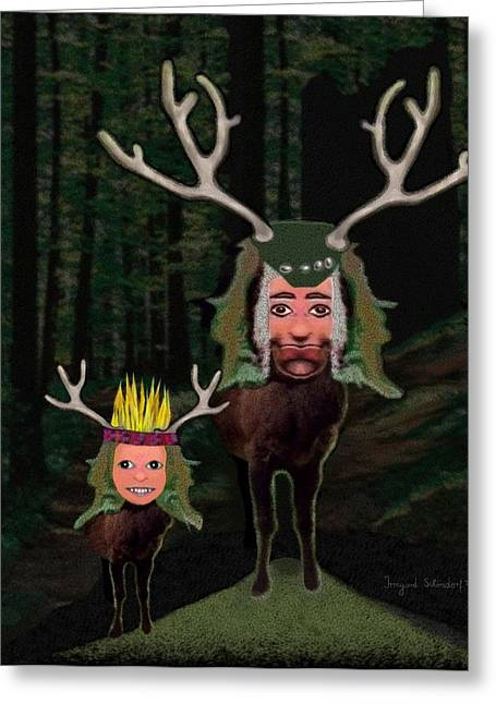 Deer Hat Greeting Cards -  121 - One morning in the woods Greeting Card by Irmgard Schoendorf Welch