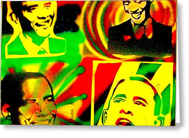 4 Rasta Obama Greeting Card by TONY B CONSCIOUS