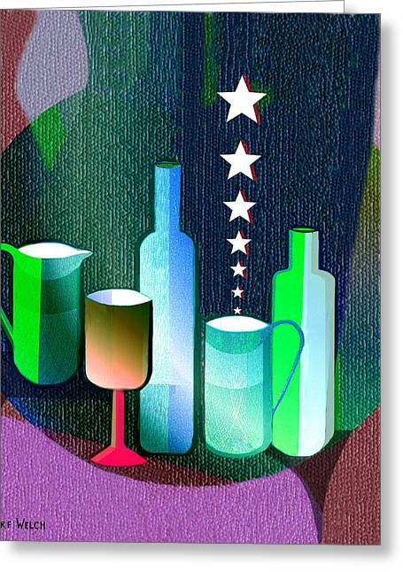 Schoendorf Greeting Cards -  647 - Bottles and stars   Greeting Card by Irmgard Schoendorf Welch