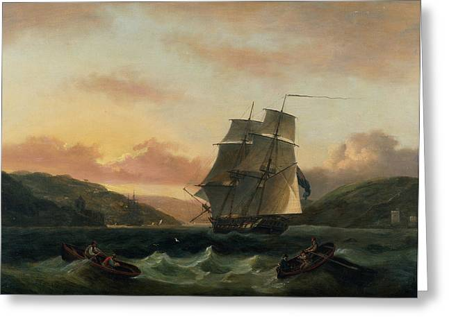 Boats In Water Greeting Cards -  A Brigantine in Full Sail in Dartmouth Harbour Greeting Card by Thomas Luny