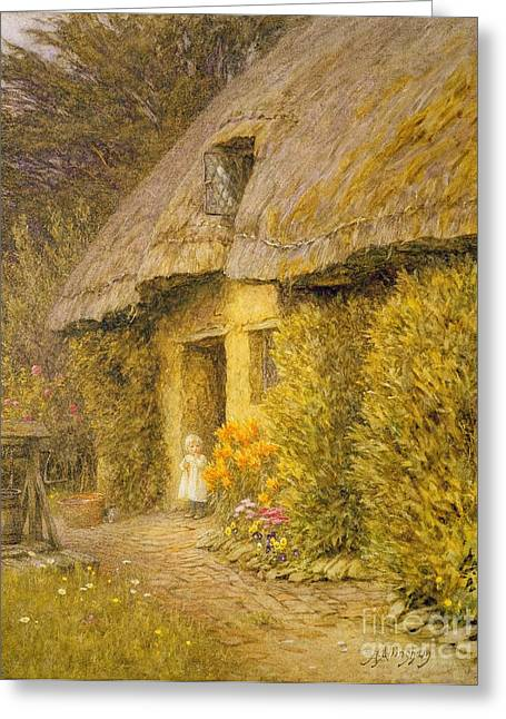 Helen Allingham Greeting Cards -  A Child at the Doorway of a Thatched Cottage  Greeting Card by Helen Allingham