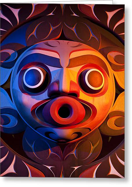 Painted Wood Greeting Cards -  A Close View Of A Totem Pole Greeting Card by Taylor S. Kennedy