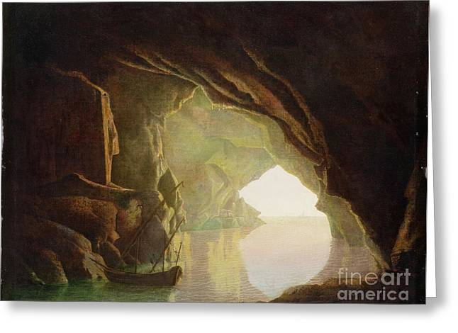 Pirates Paintings Greeting Cards -  A Grotto in the Gulf of Salerno - Sunset Greeting Card by Joseph Wright of Derby