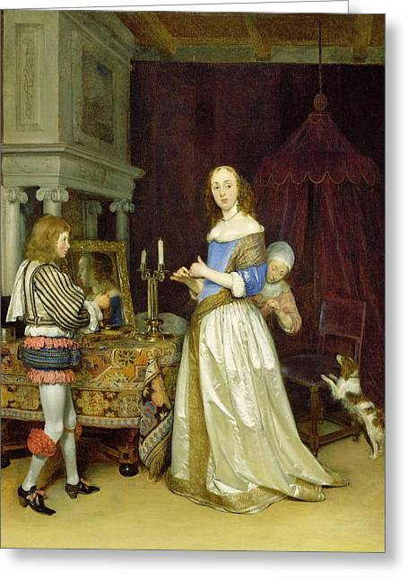 A Lady At Her Toilet Greeting Card by Gerard ter Borch