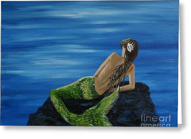 Picture Of Mermaids Greeting Cards -  A Magical Mermaid Greeting Card by Leslie Allen
